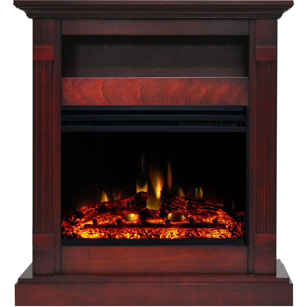 "33.9""x10.4""x37"" Sienna Fireplace Mantel with Deep and Enhanced Log Insert"