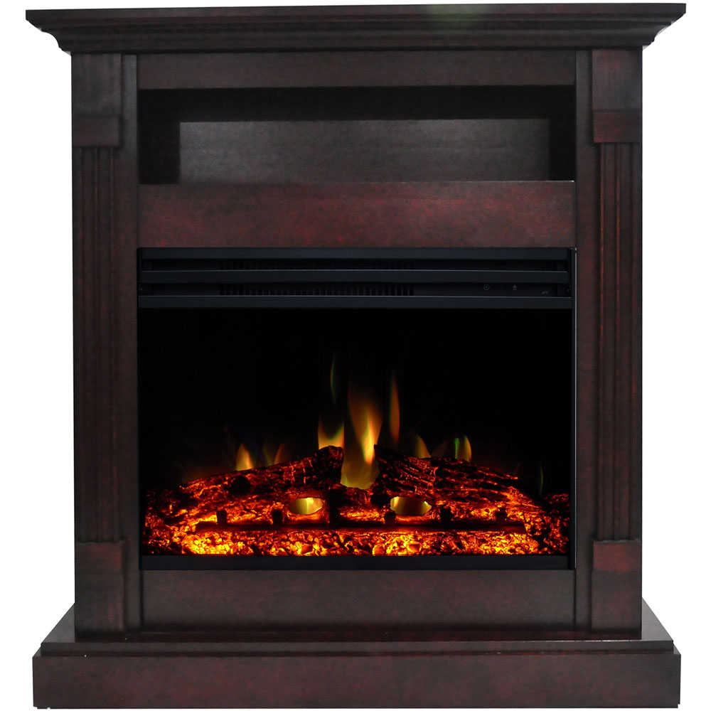 "33.9""x10.4""x37"" Sienna Fireplace Mantel with Deep & Enhanced Log Insert"