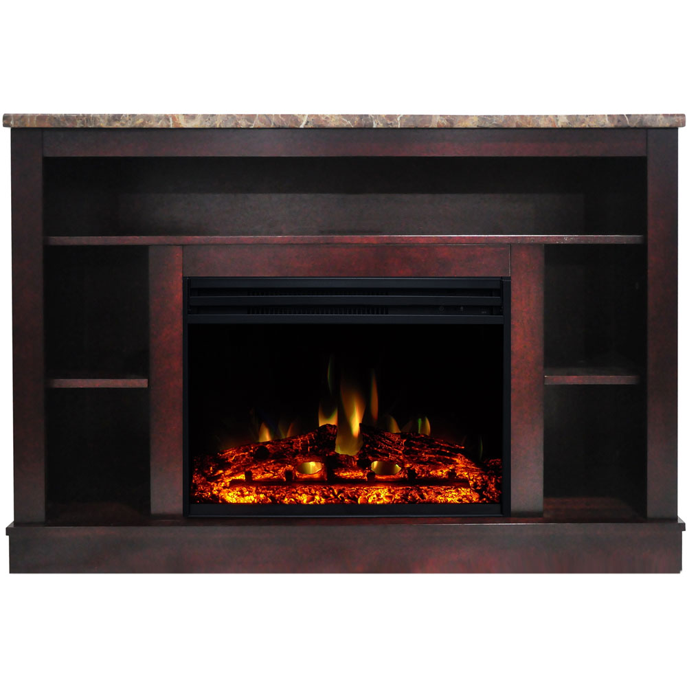 "47.2""x15.7""x32.5"" Seville Fireplace Mantel w/ Deep & Enhanced Log Insert"