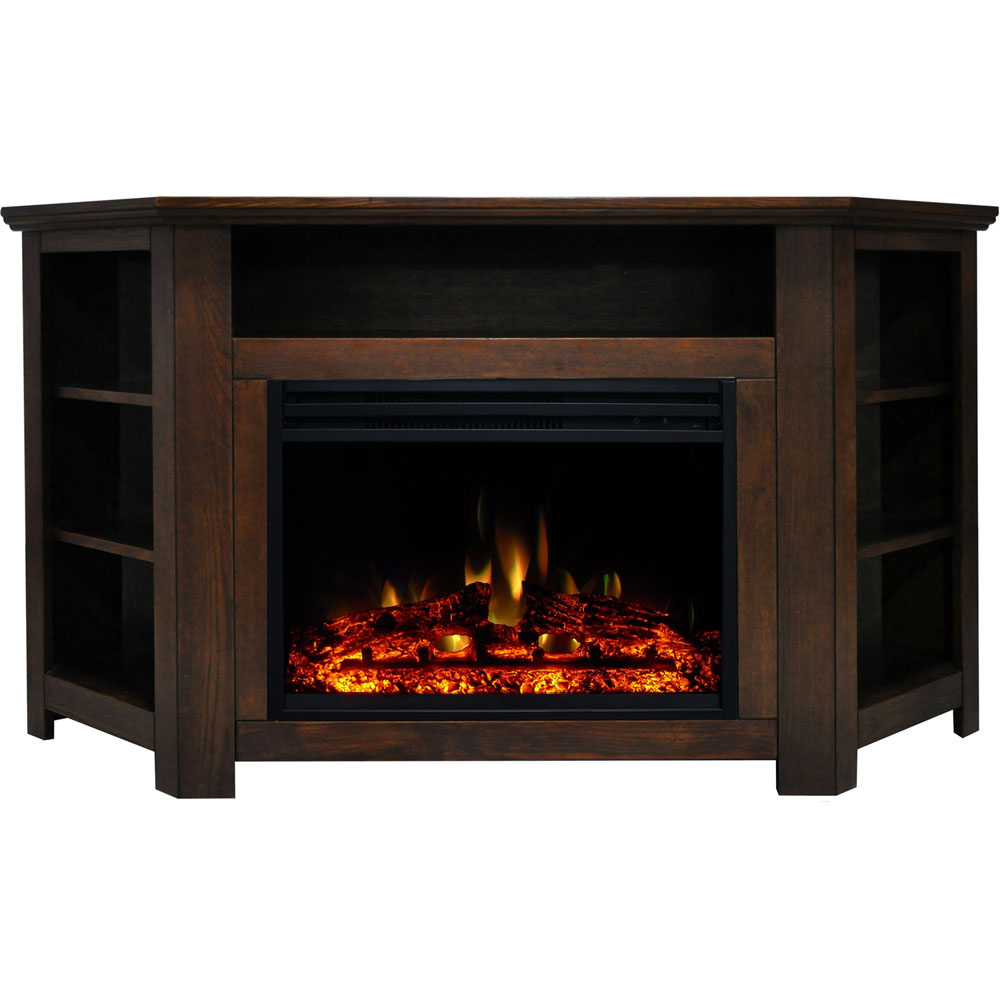 "56""x15.4""x30.4"" Stratford Fireplace Mantel w/Deep & Enhanced Log Insert"