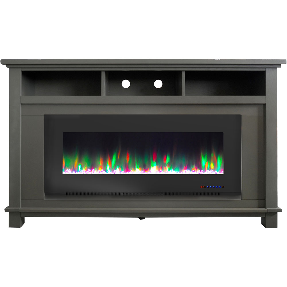 "57.8"" x 14.4"" x 35"" San Jose Fireplace Mantel with 50"" Crystal Insert"