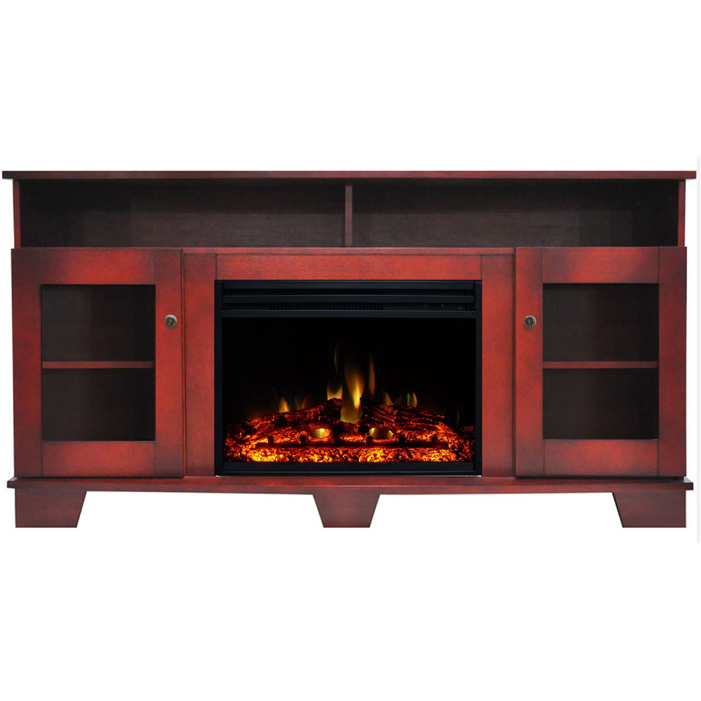 "59.1""x17.7""x31.7"" Savona Fireplace Mantel w/Deep & Enhanced Log Insert"