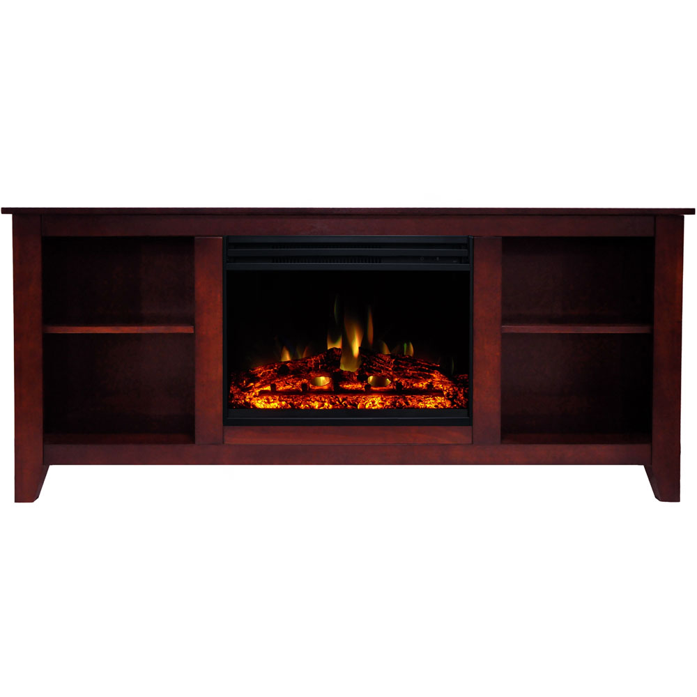 "62.8""x15.2""x26.5"" Santa Monica FP Mantel w/Deep & Enhanced Log Insert"