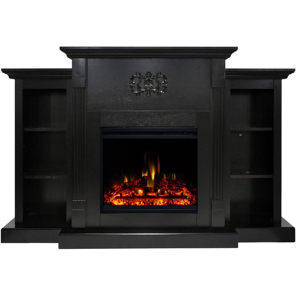 "72.3""x15""x33.7"" Sanoma Fireplace Mantel w/Deep & Enhanced Log Insert"
