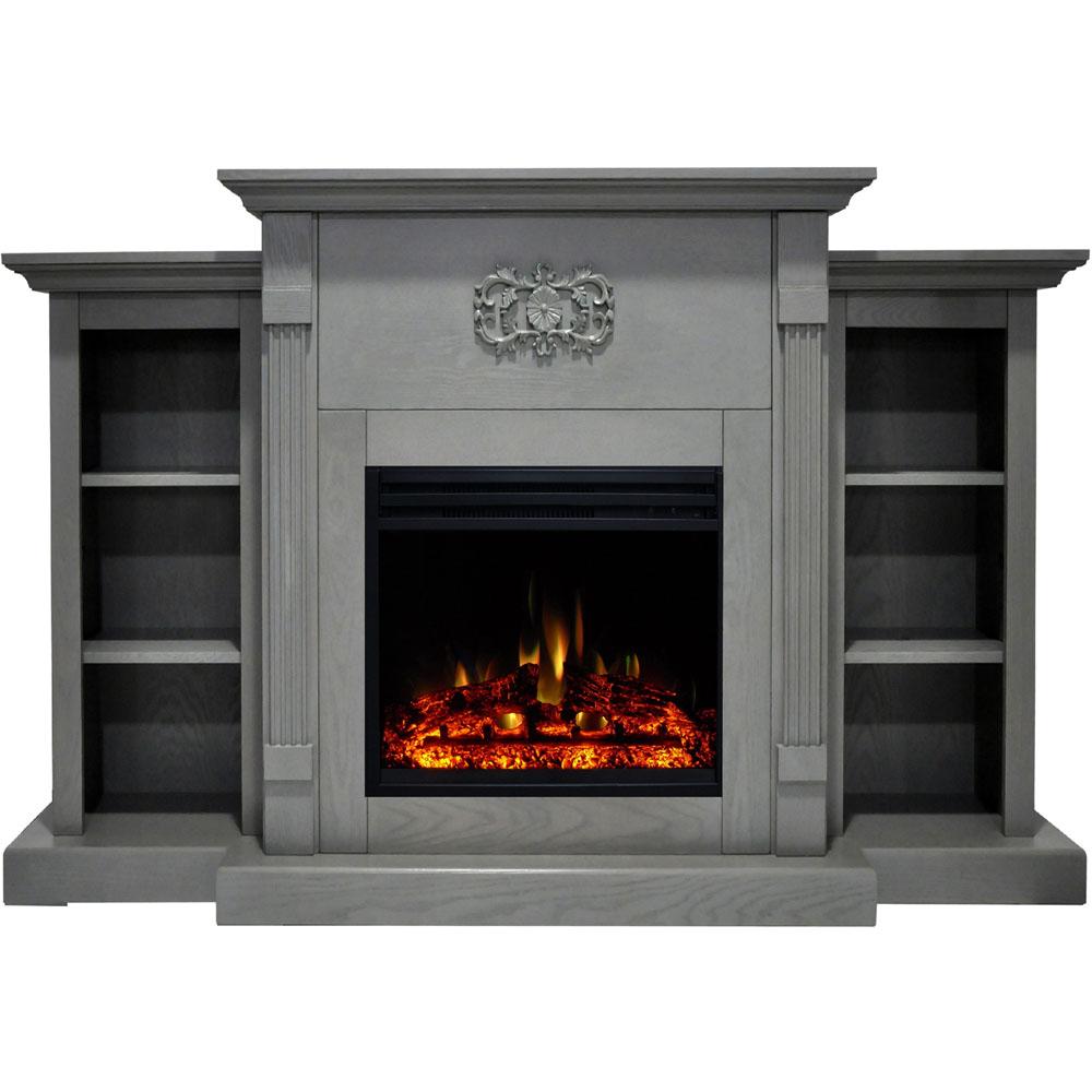 "72.3""x15""x33.7"" Sanoma Fireplace Mantel w/Deep & Enhanced Log Insert"