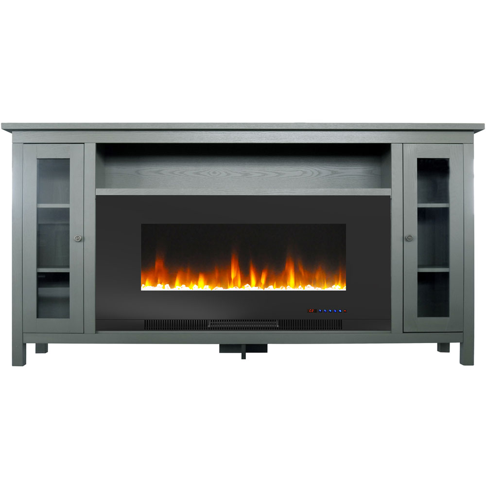 "69.7""x13.4""x38.6"" Somerset Fireplace Mantel with 42"" Crystal Insert"