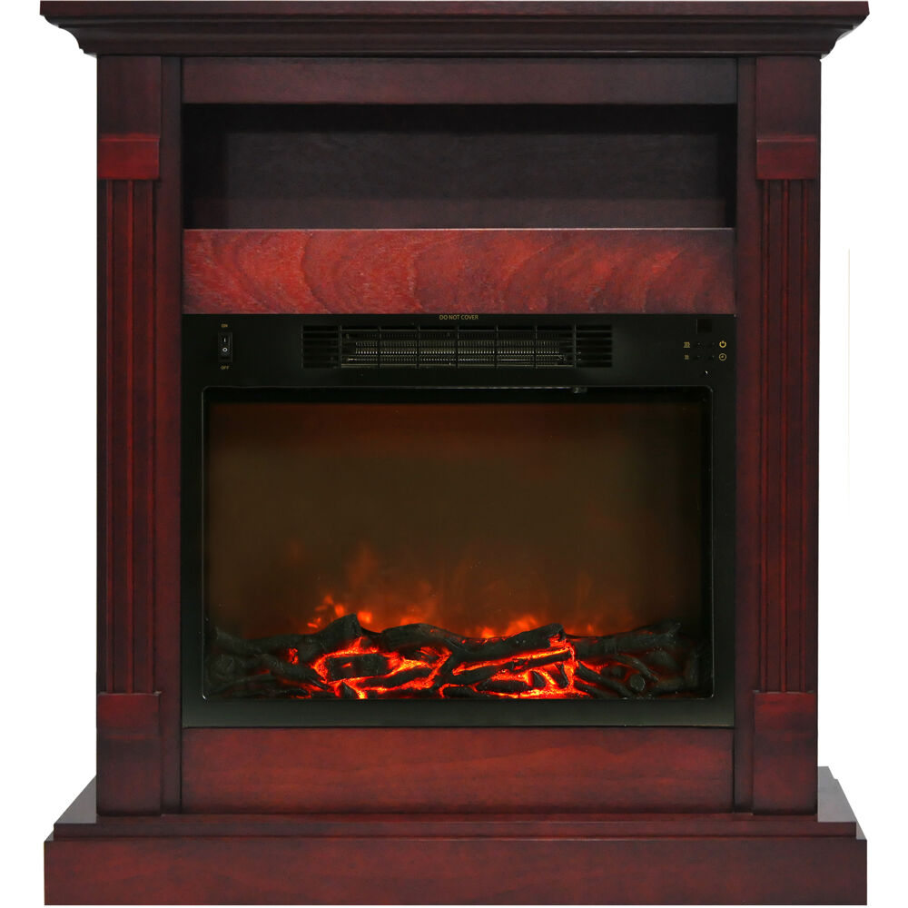 "34""x37"" Fireplace Mantel with Log Insert"