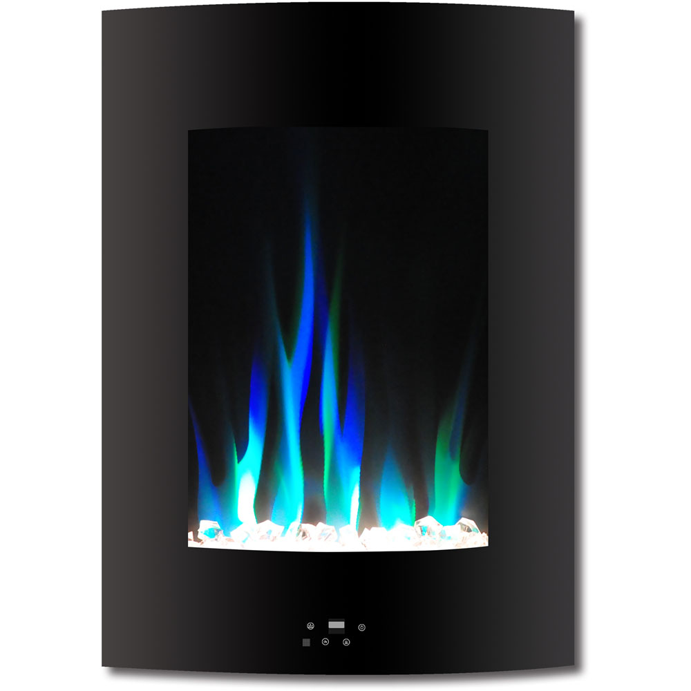 "19.5"" Vertical Color Changing Wall Mount Fireplace with Crystals"