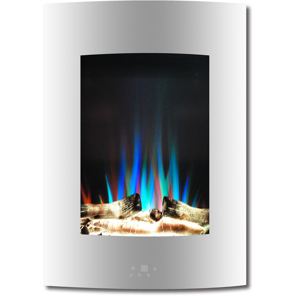 "19.5"" Vertical Color Changing Wall Mount Fireplace with Logs"