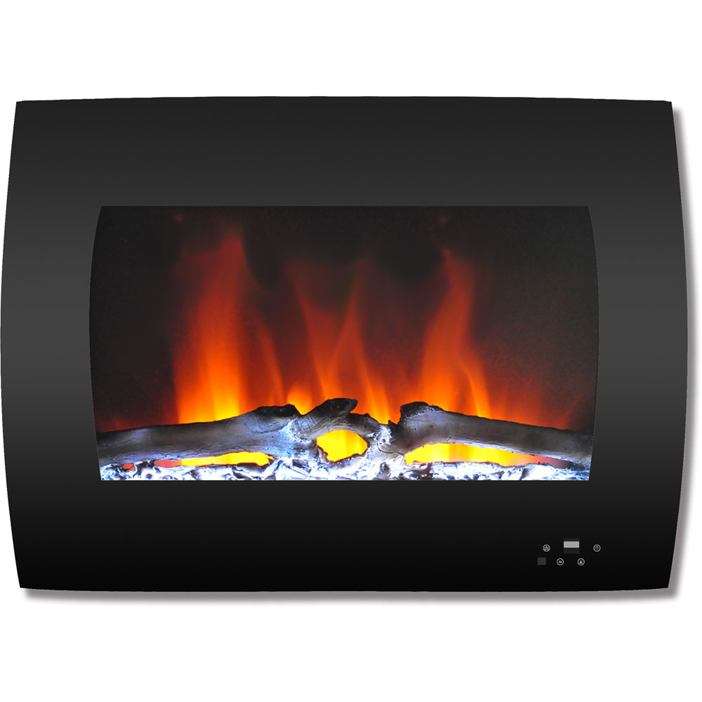"26"" Color Changing Wall Mount Fireplace with Logs"