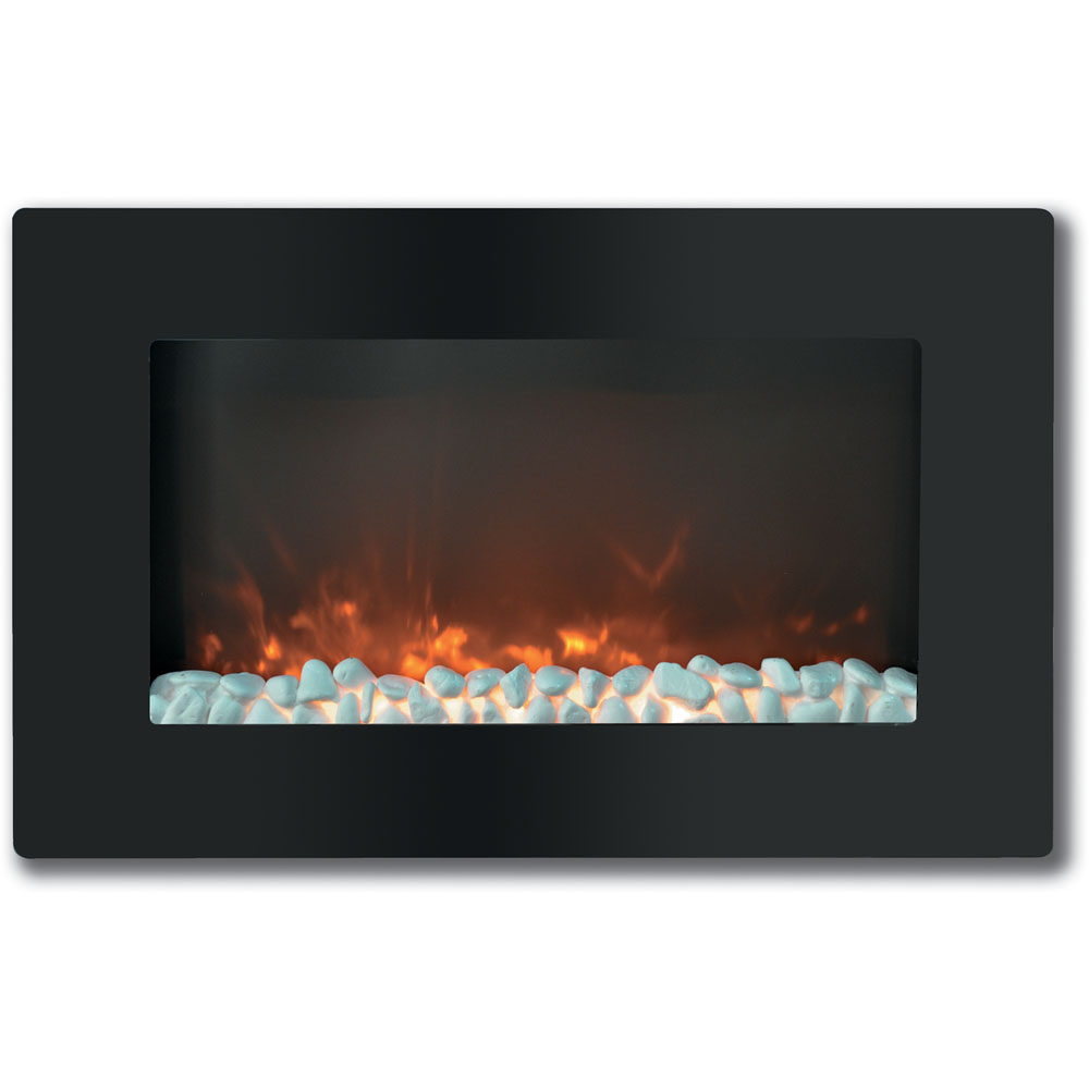 "30"" Callisto Wall Mount Electronic Fireplace with Crystal Rocks"