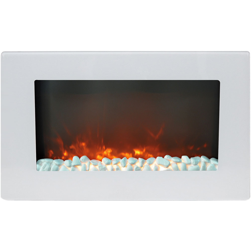 "30"" Wall Mount Electric Fireplace with Crystals"