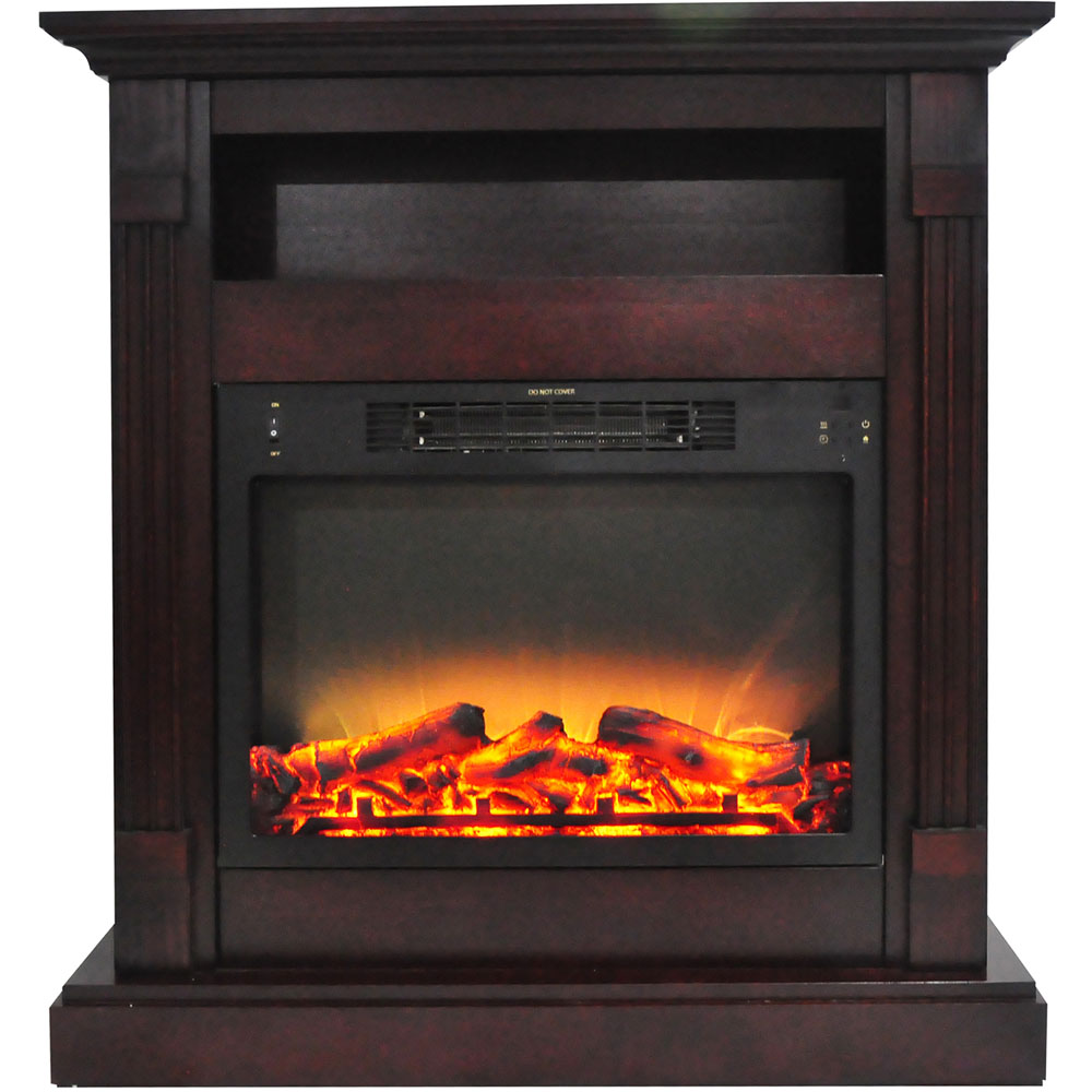 "33.9""x10.4""x37"" Sienna Fireplace Mantel with Logs and Grate Insert"