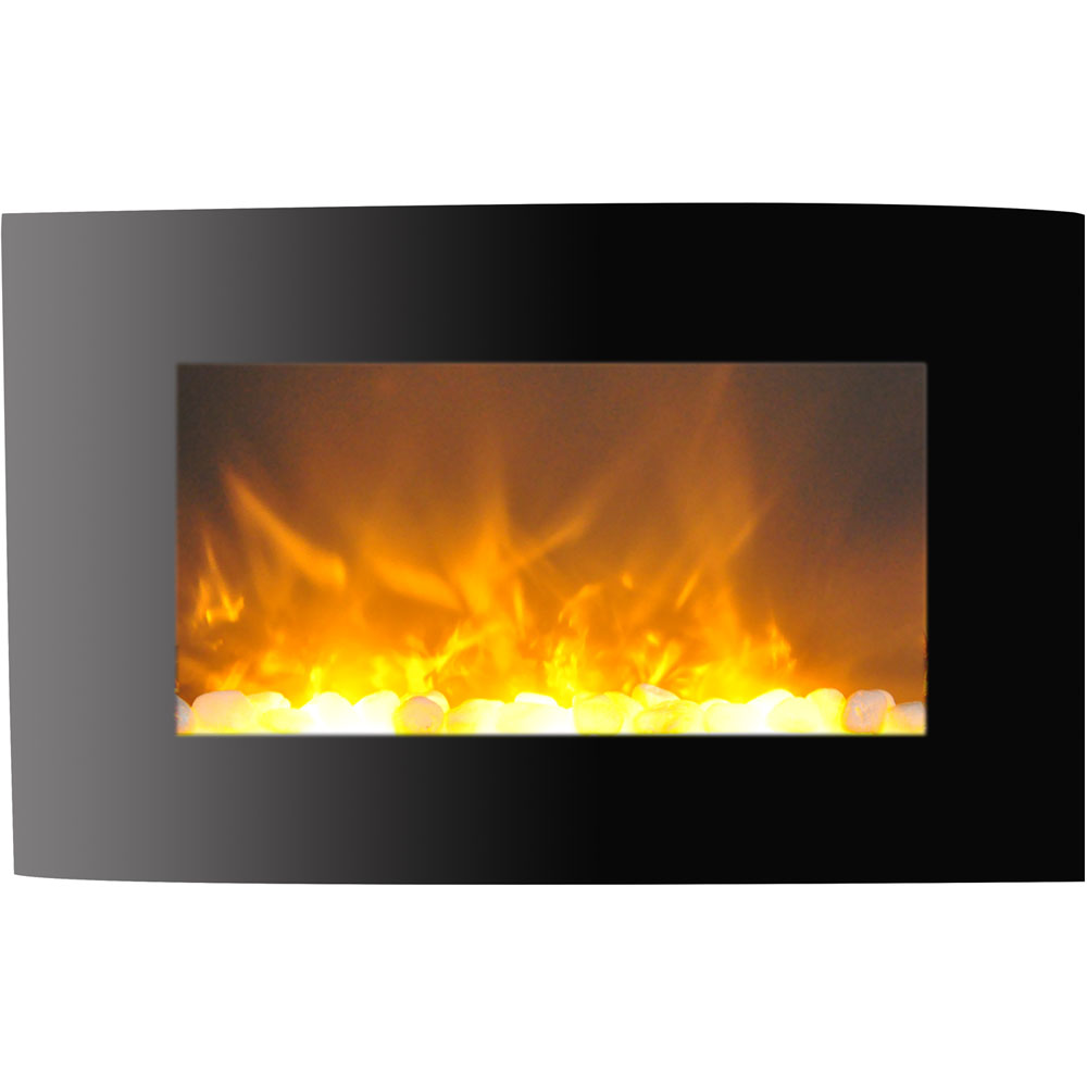 "35"" Callisto Curved Wall Mount Electronic Fireplace with Crystal Rocks"