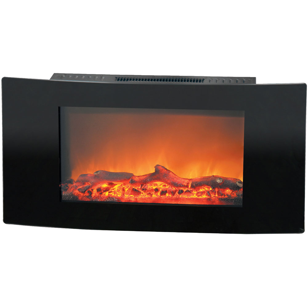 "35"" Callisto Curved Wall Mount Electronic Fireplace with Logs"