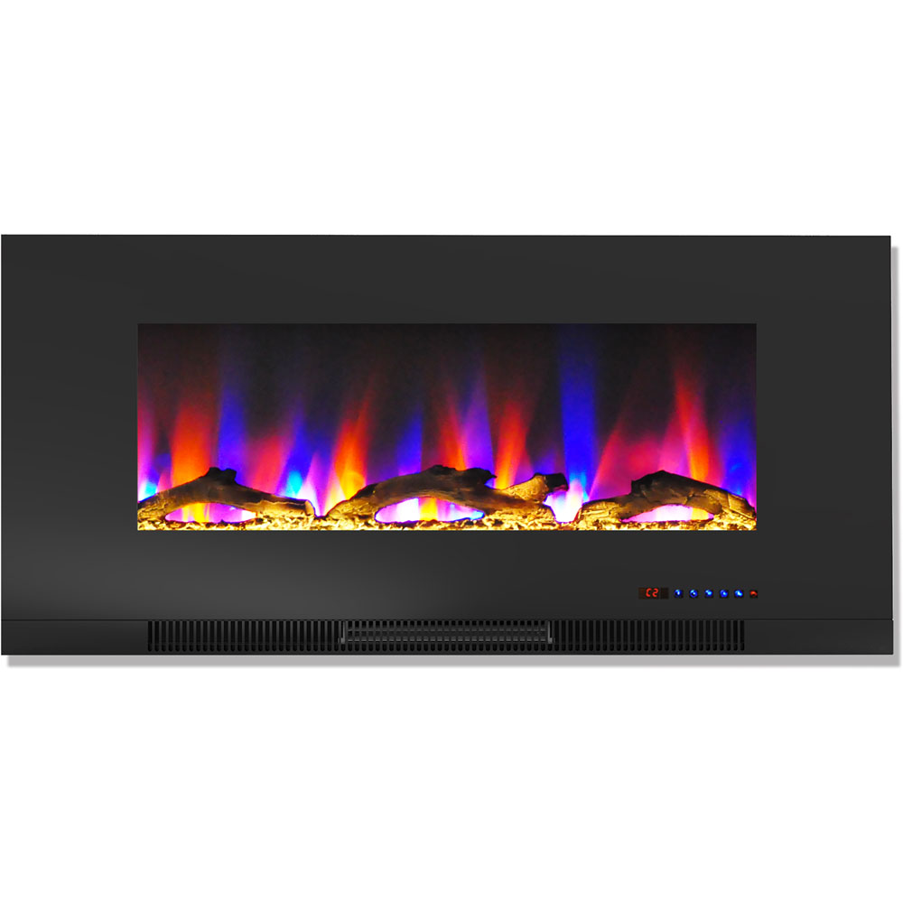 "42"" Color Changing Wall Mount Fireplace with Logs"
