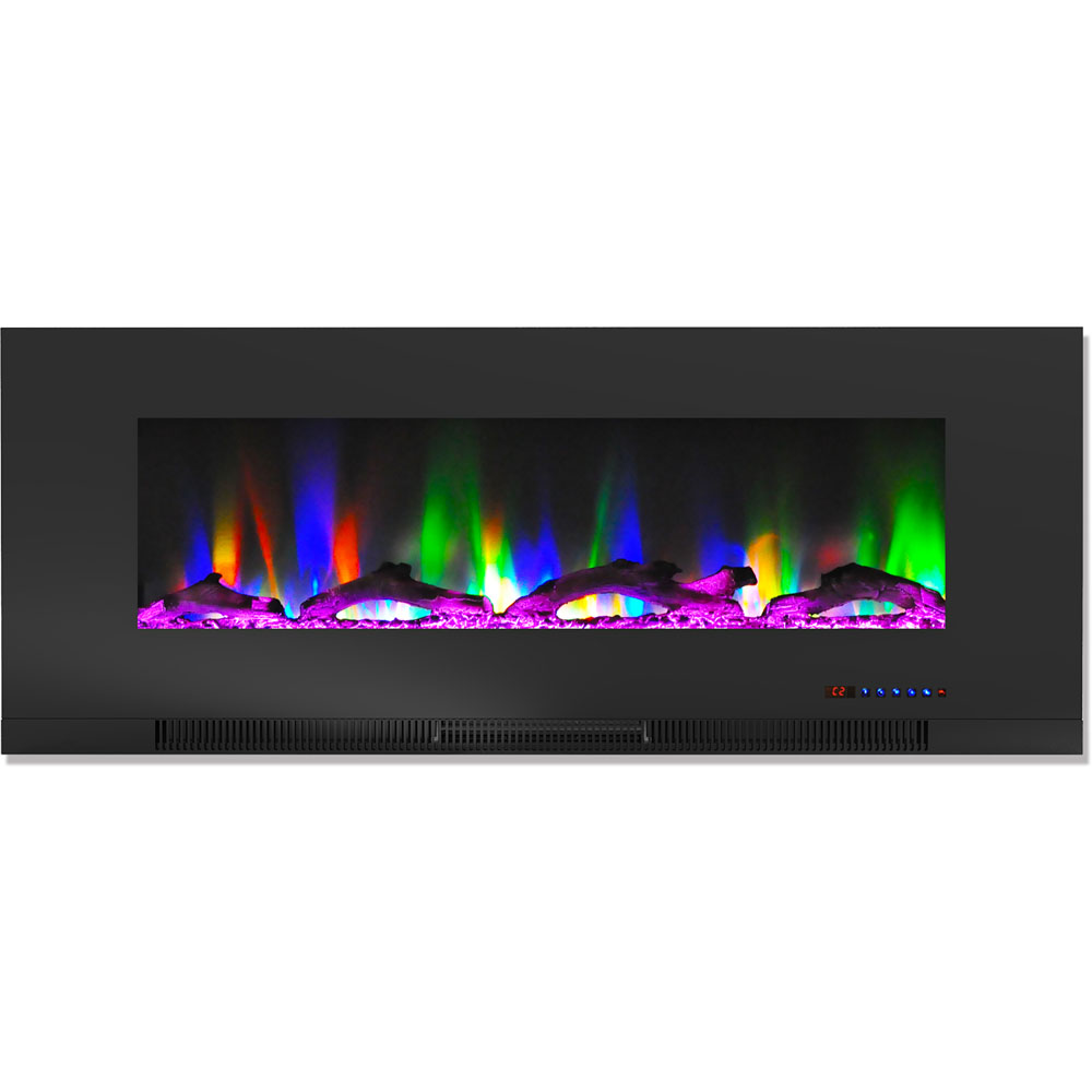 "50"" Color Changing Wall Mount Fireplace with Logs"