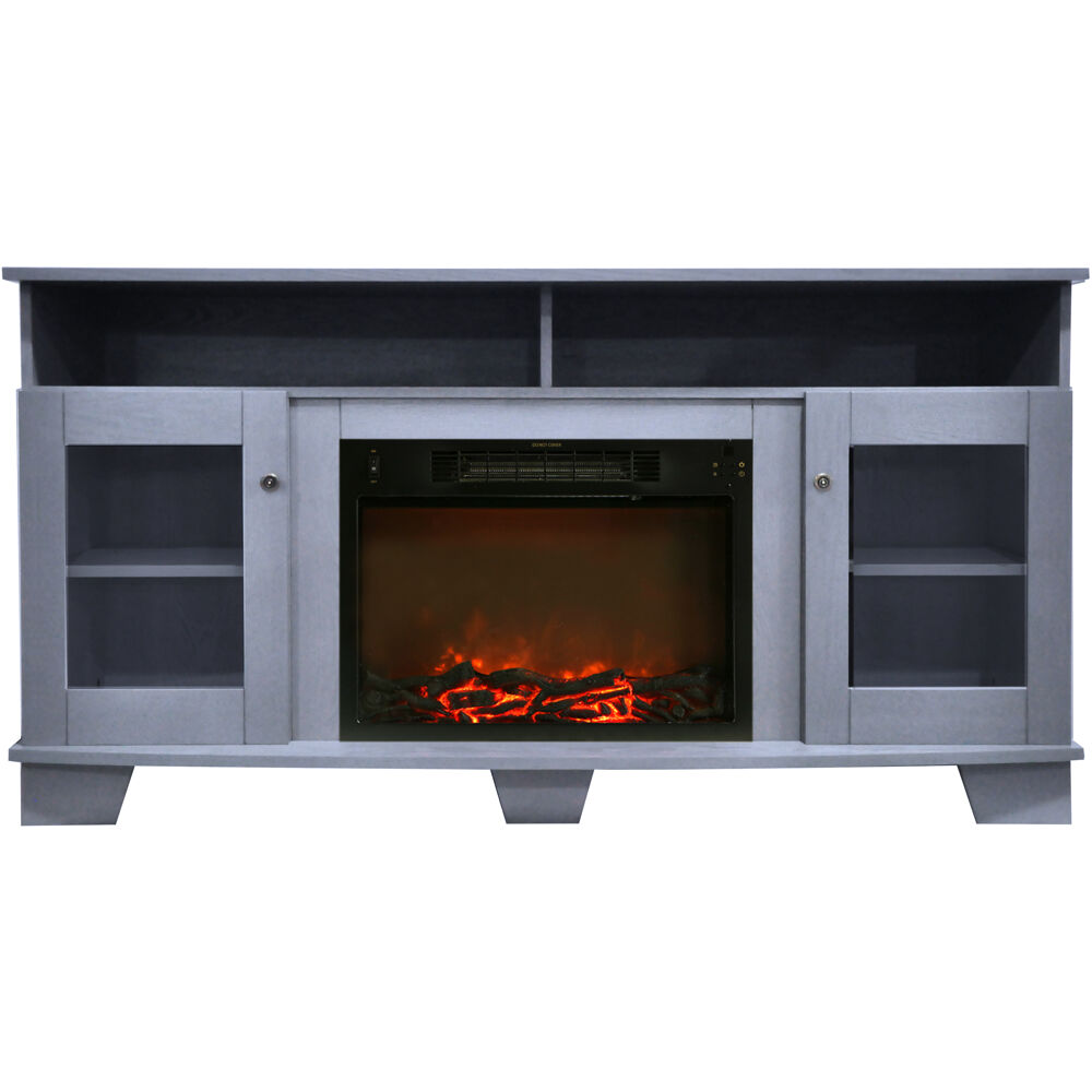 "59.1""x17.7""x31.7"" Savona Fireplace Mantel with Log Insert"