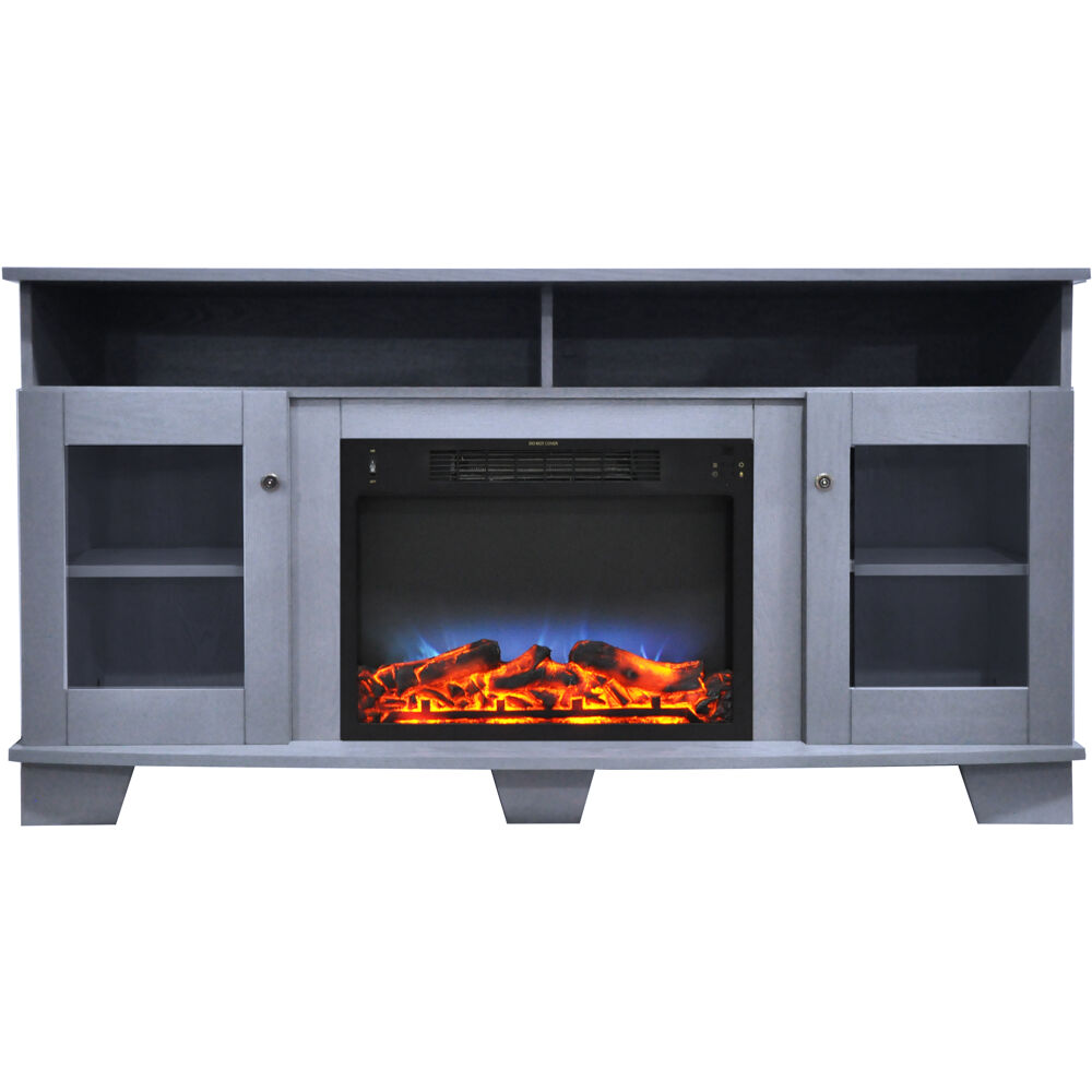 "59.1""x17.7""x31.7"" Savona Fireplace Mantel with LED Insert"