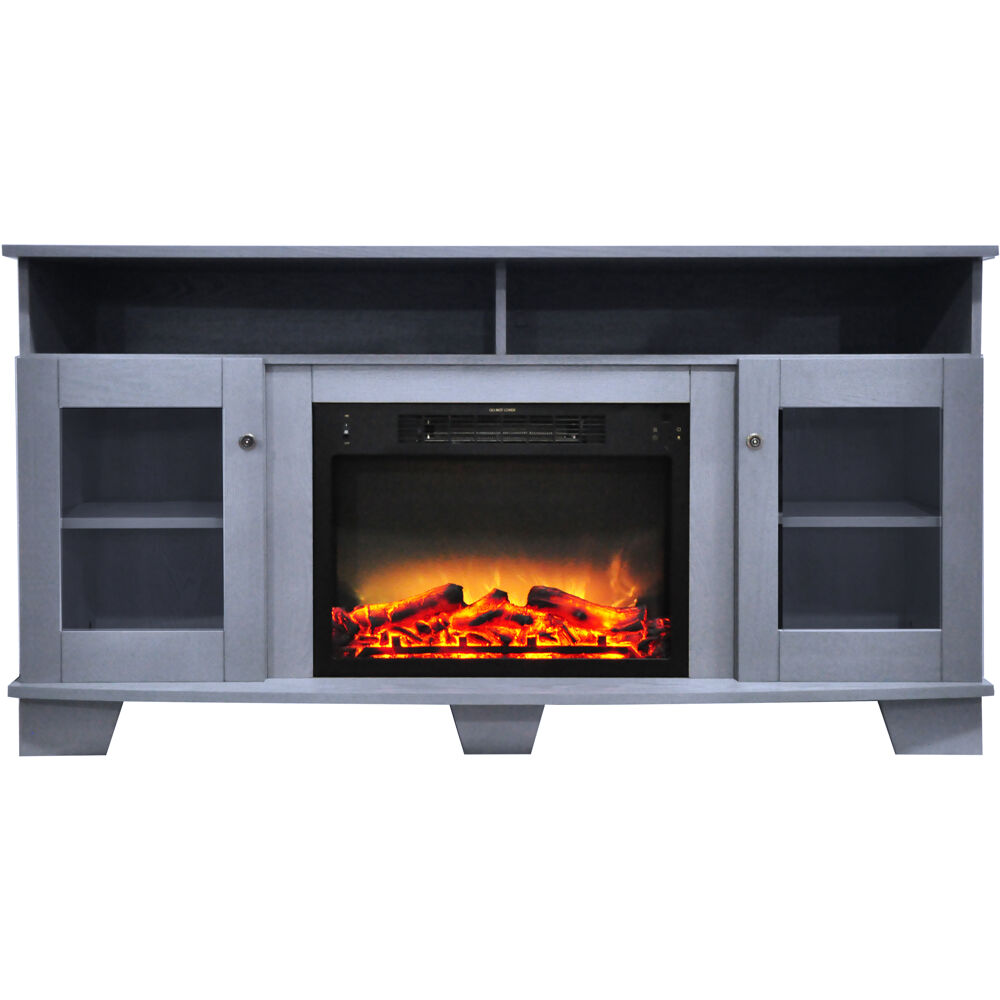 "59.1""x17.7""x31.7"" Savona Fireplace Mantel with Logs and Grate Insert"