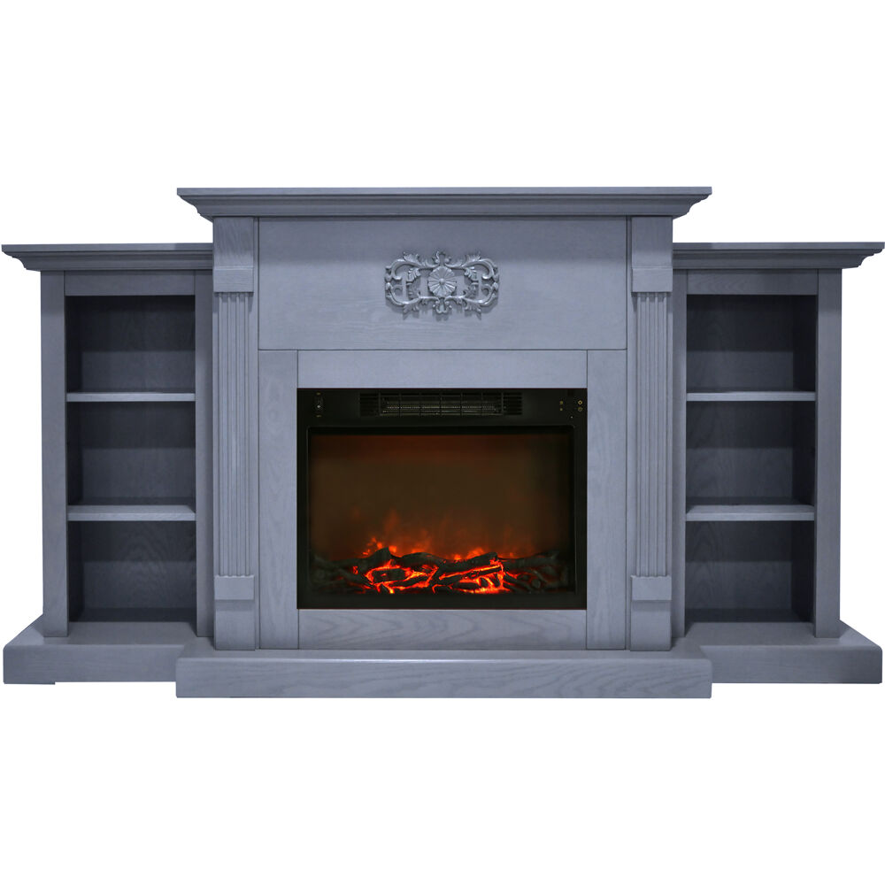 "72.3""x15""x33.7"" Sanoma Fireplace Mantel with Logs Insert"