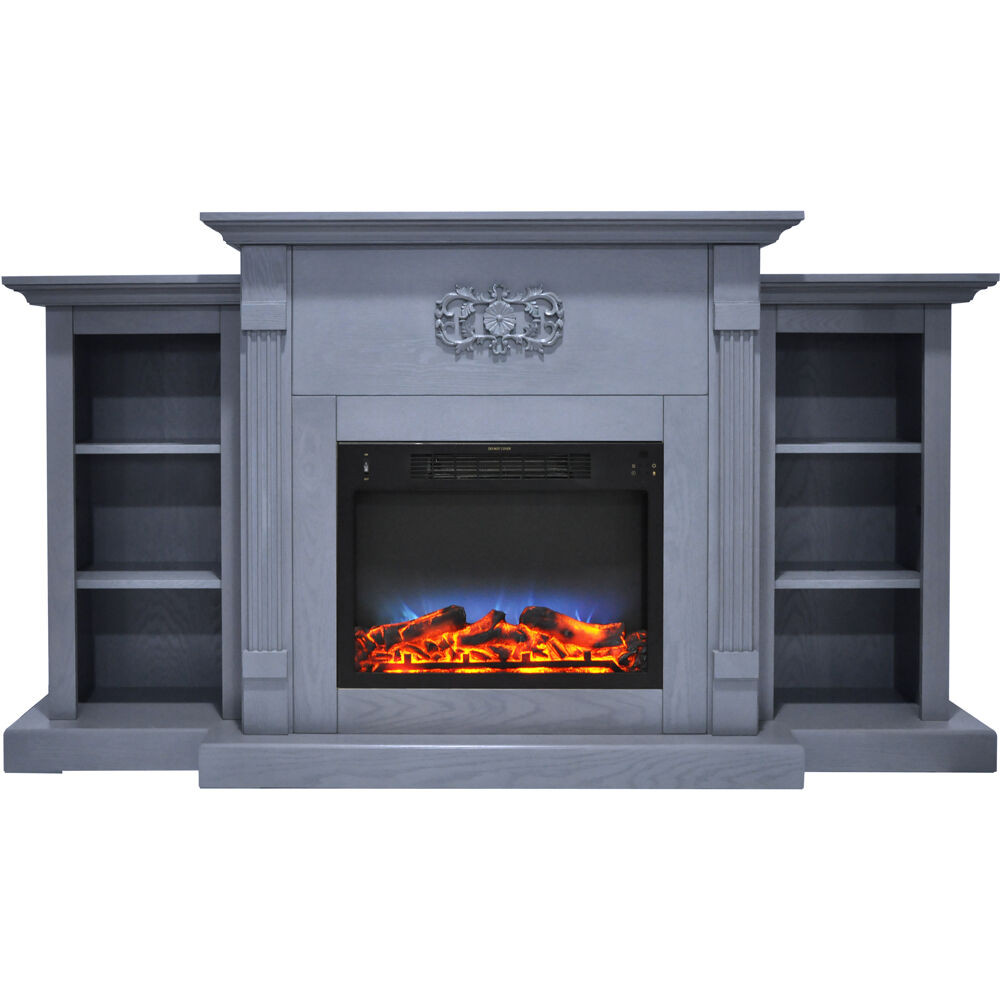 "72.3""x15""x33.7"" Sanoma Fireplace Mantel with LED Insert"