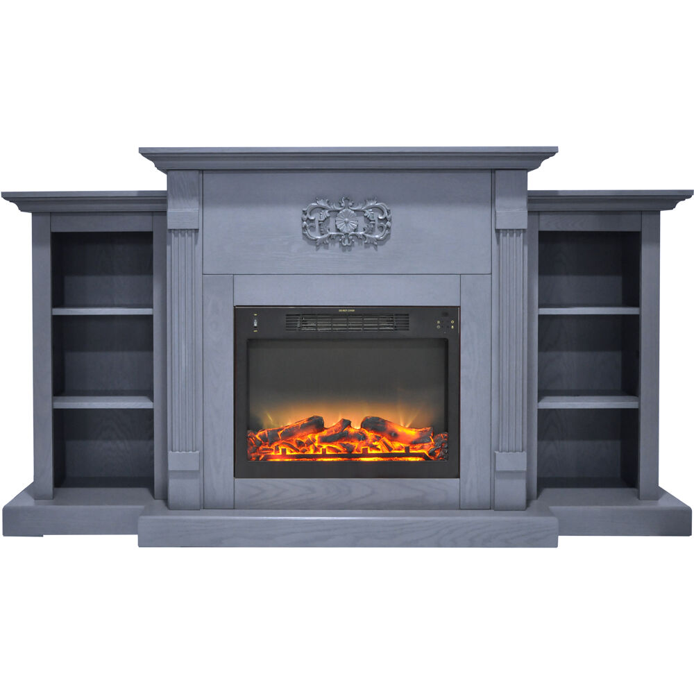 "72.3""x15""x33.7"" Sanoma Fireplace Mantel with Logs and Grate Insert"