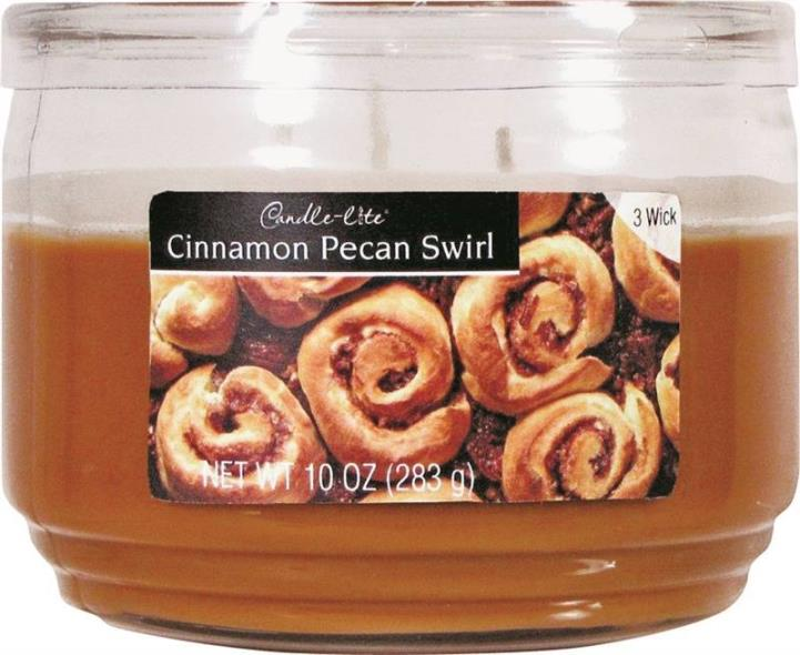 Candle,-Lite 1879549 Scented Candle, 10 oz Capacity, 4.18 in Dia X 3.19 in H, Cinnamon Pecan Swirl