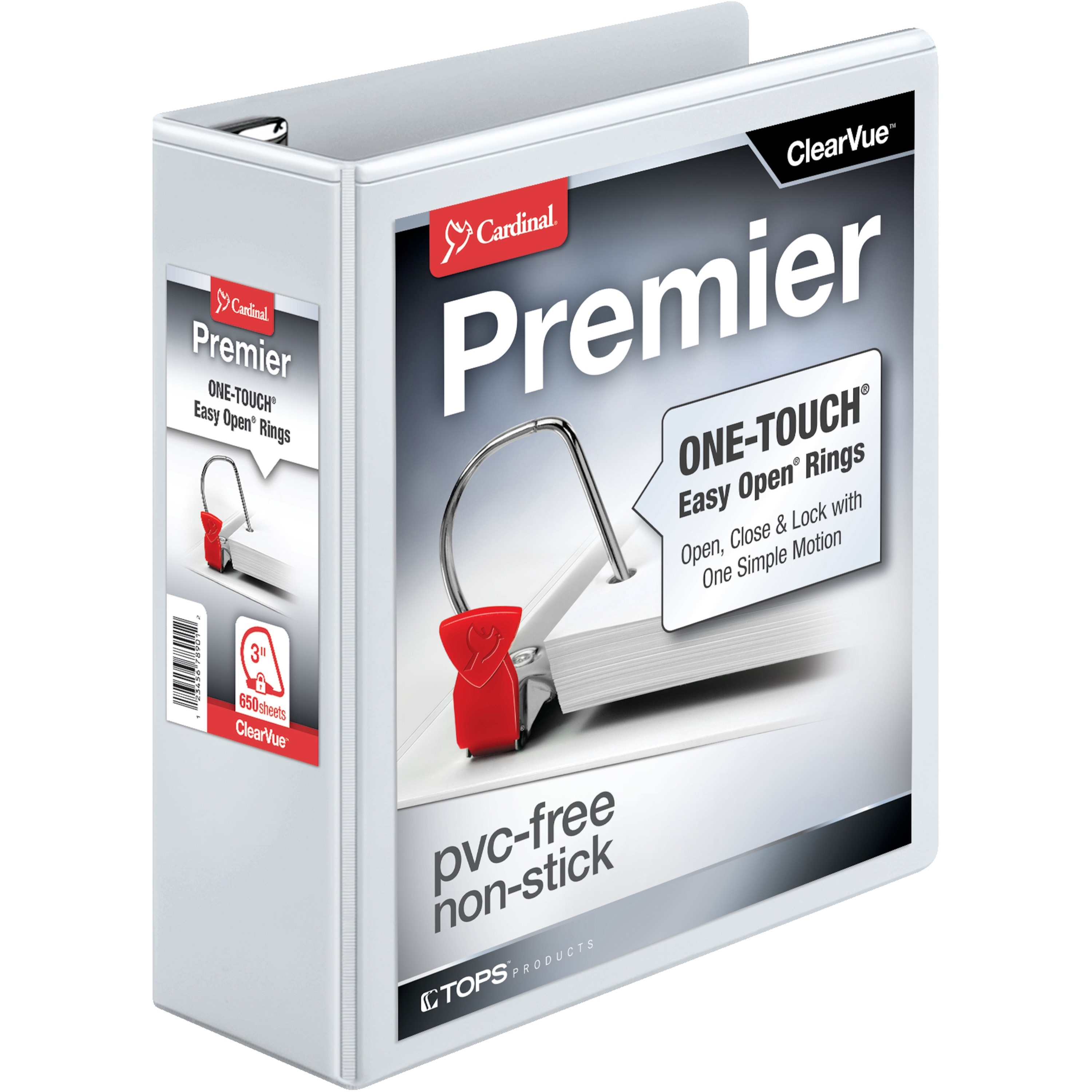 "Easy-Open ClearVue Locking Slant-D Binder, 3"" Cap, 11 x 8 1/2, White"