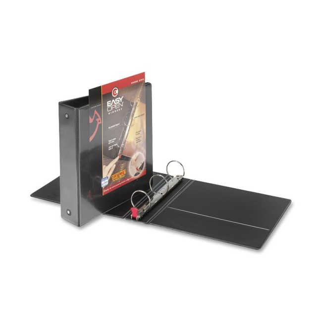 "Premier Easy Open ClearVue Locking Round Ring Binder, 2"" Cap, 11 x 8 1/2, Black"