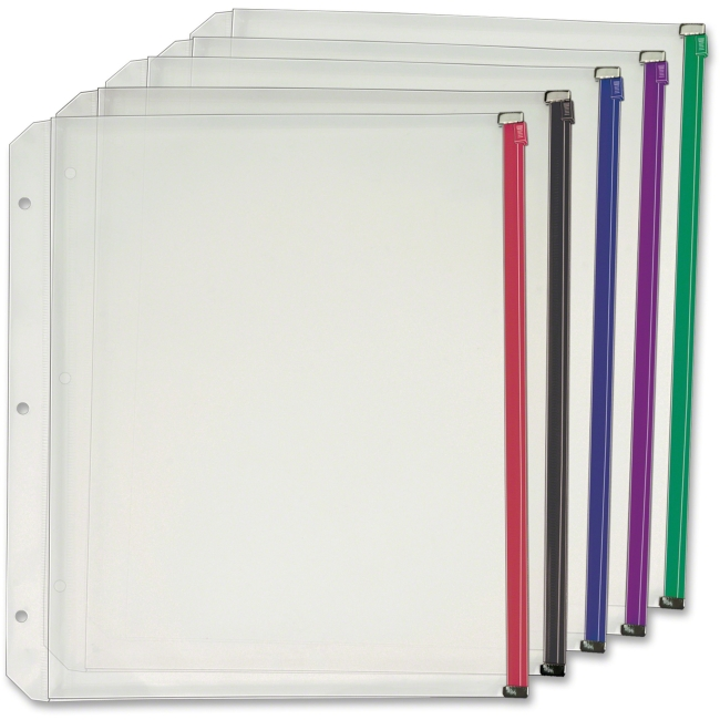 Expanding Zipper Binder Pocket, 11 x 8 1/2, Assorted Colors, 5/Pack