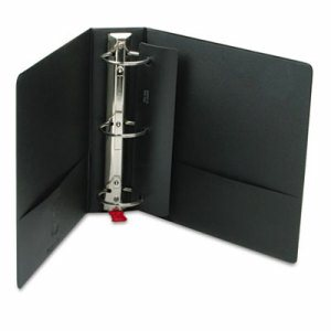 "Premier Easy Open Locking Round Ring Binder, 3"" Cap, 11 x 8 1/2, Black"