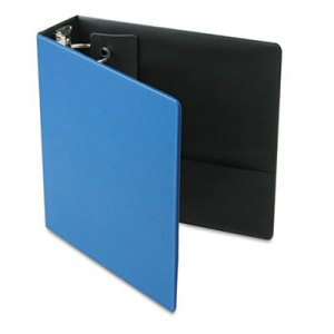 "Premier Easy Open Locking Round Ring Binder, 3"" Cap, 11 x 8 1/2, Medium Blue"