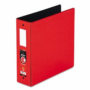 "Premier Easy Open Locking Round Ring Binder, 3"" Cap, 11 x 8 1/2, Red"
