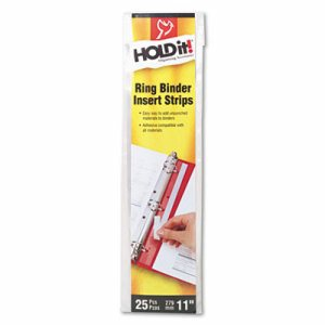 HOLD IT Binder Insert Strips, 3/4 x 11, Self-Adhesive, Punched, Clear, 25/Pack