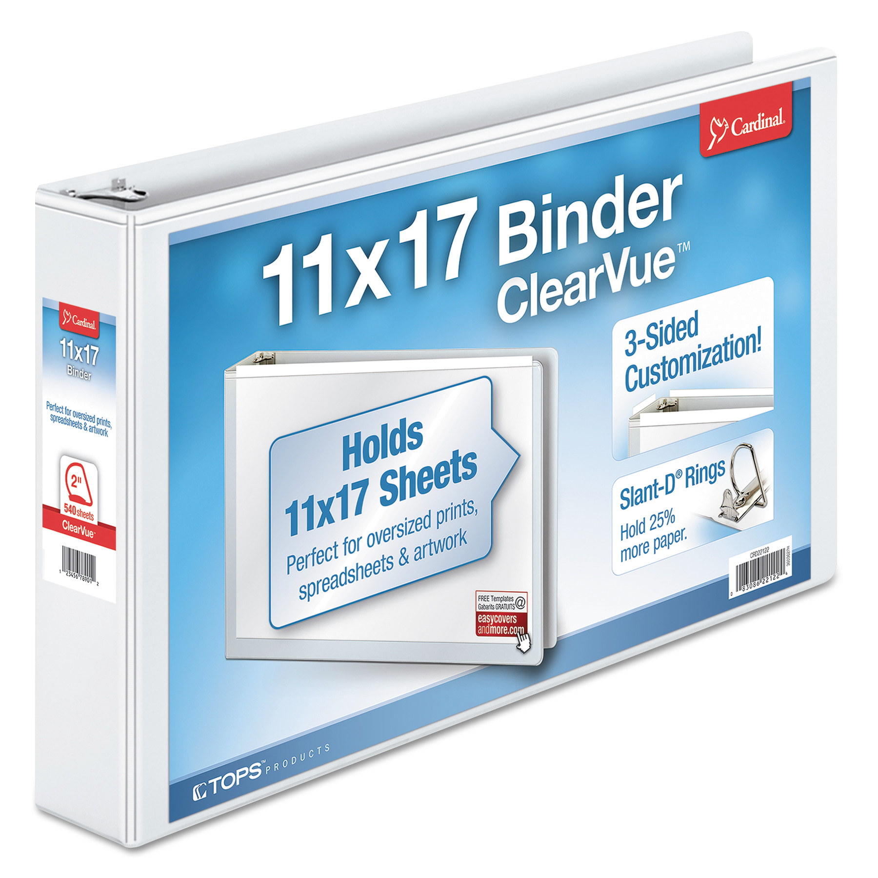 "11 x 17 ClearVue Slant-D Ring Binder, 2"" Cap, White"