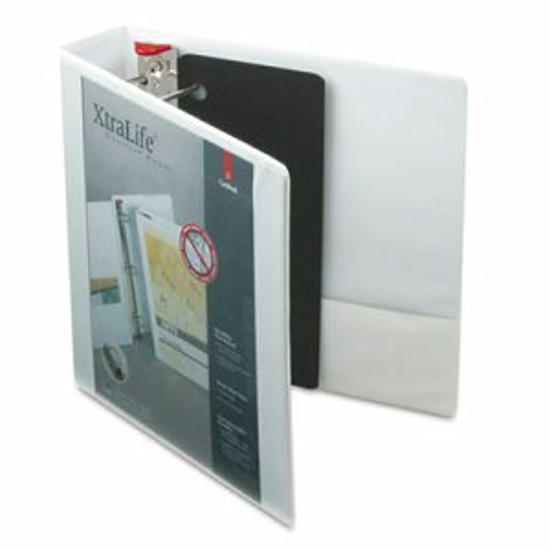 "XtraLife ClearVue Non-Stick Locking Slant-D Binder, 2"" Cap, 11 x 8 1/2, White"
