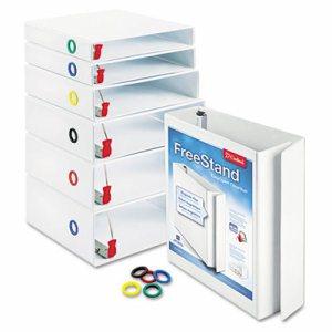 "FreeStand Easy Open Locking Slant-D Ring Binder, 1"" Cap, 11 x 8 1/2, White"