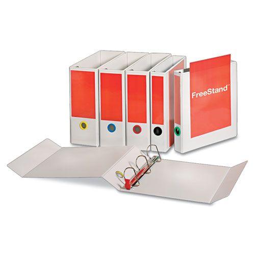 "FreeStand Easy Open Locking Slant-D Ring Binder, 1 1/2"" Cap, 11 x 8 1/2, White"