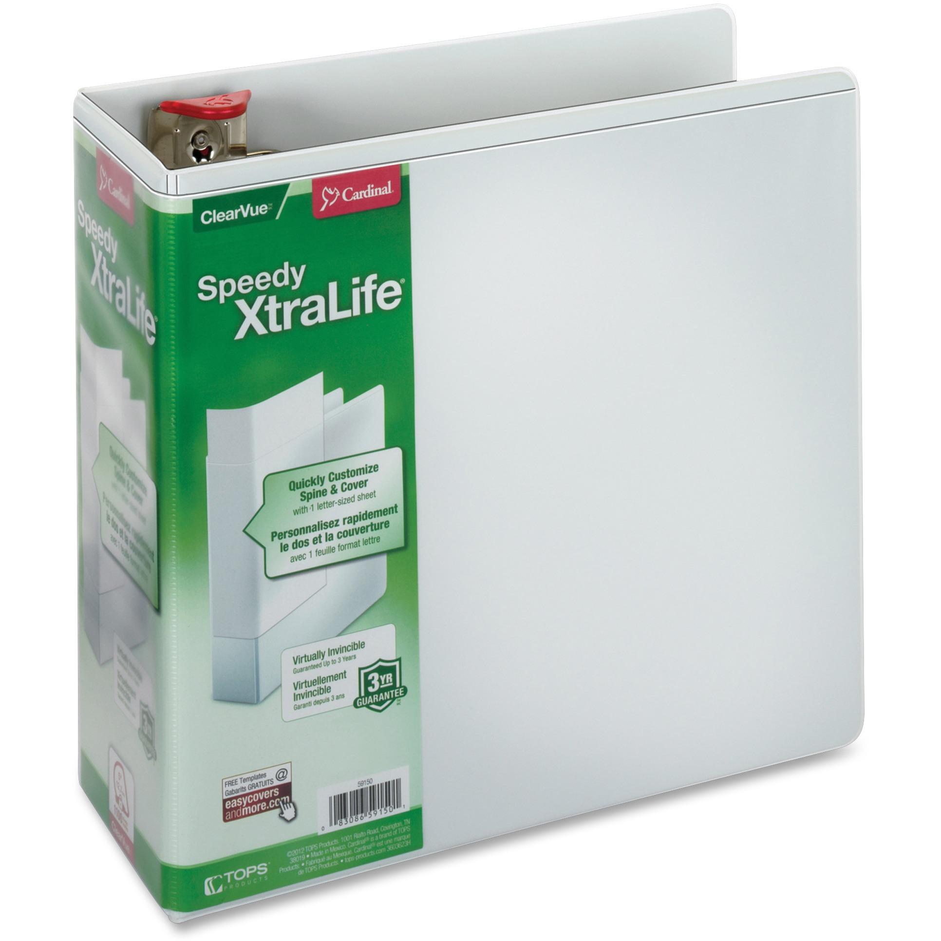"Speedy XtraLife Non-Stick Locking Slant-D Ring Binder, 5"" Cap, 11 x 8 1/2, White"