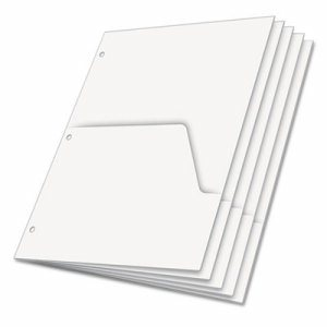 Untabbed Ring Binder Double Pocket Dividers, Letter, White, 5/Pack