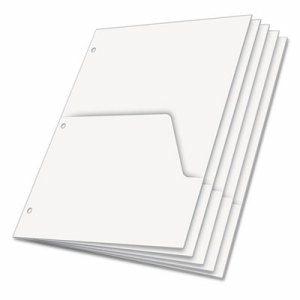 Untabbed Ring Binder Double Pocket Dividers, Letter, White, 5/Pack