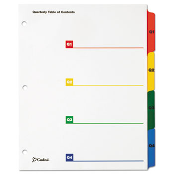 OneStep Printable Table of Contents/Dividers, Quarterly, 11 x 8 1/2, Multicolor
