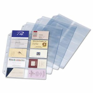 Business Card Refill Pages, Holds 200 Cards, Clear, 20 Cards/Sheet, 10/Pack