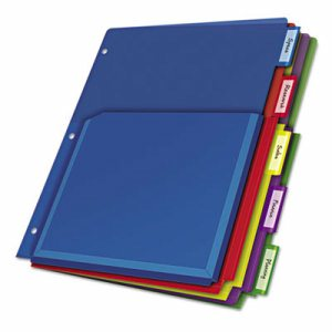 Poly Expanding Pocket Index Dividers, 5-Tab, Letter, Multicolor, per Pack