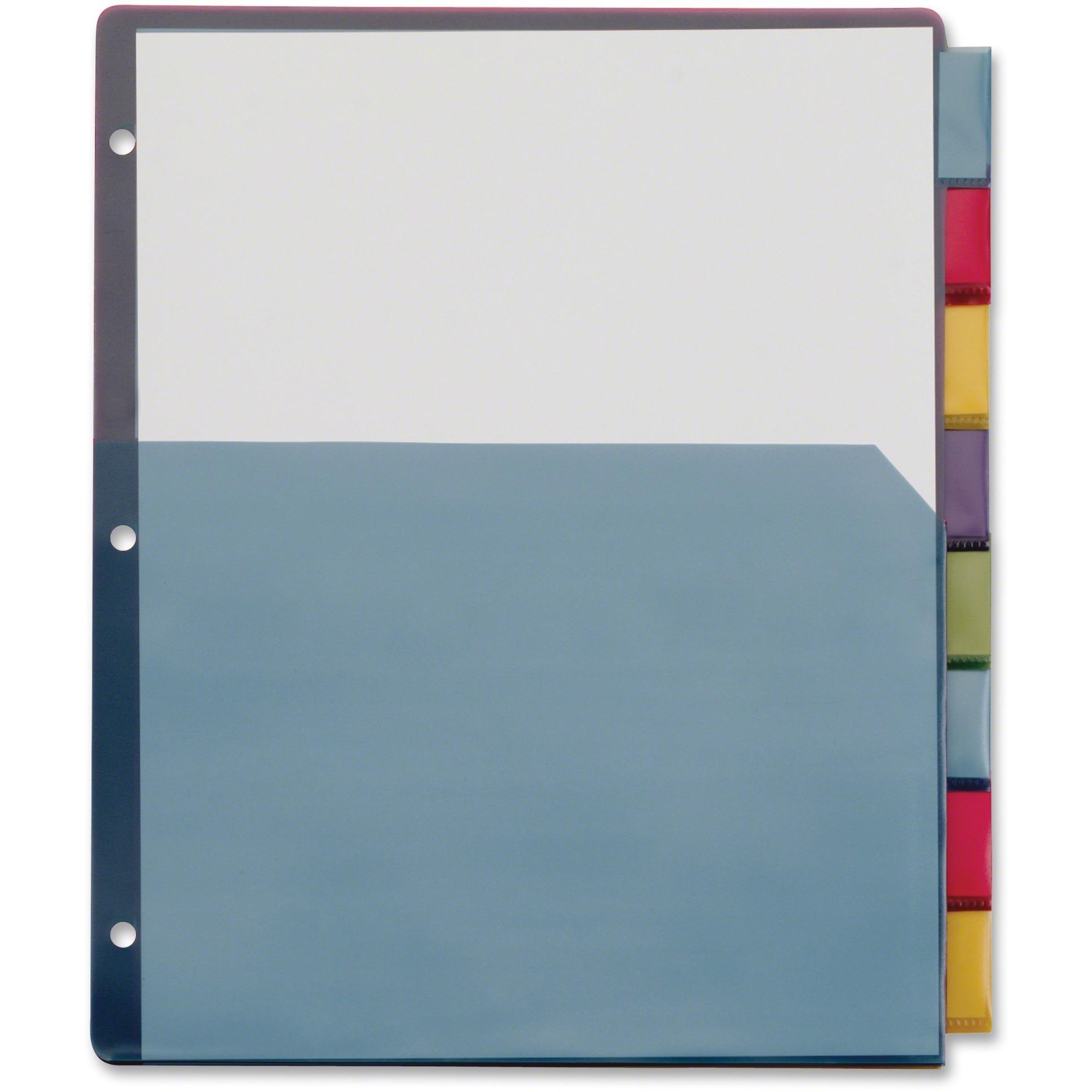 Poly 1-Pocket Index Dividers, Letter, Multicolor, 8-Tabs/Set, 4 Sets/Pack