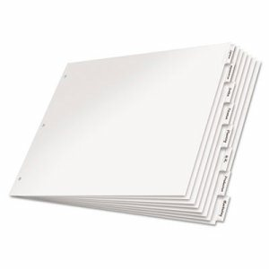 Paper Insertable Dividers, 8-Tab, 11 x 17, White Paper/Clear Tabs
