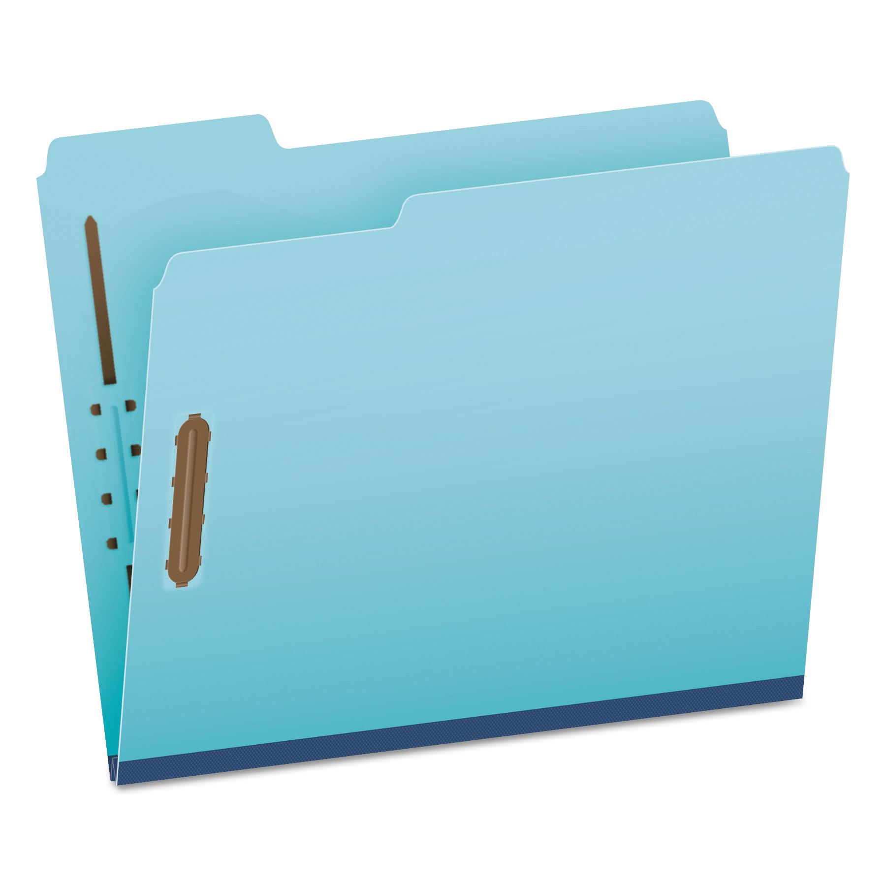 Earthwise Heavy-Duty Pressboard Folders, 1/3 Cut Tab, Letter, Light Blue, 25/Box