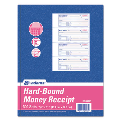 TOPS 2-Part Hardbound Receipt Book, 7 x 2 3/4, w/Carbon, 300 Set/Book