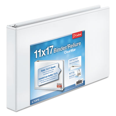 "11 x 17 ClearVue Slant-D Ring Binder, 1 1/2"" Cap, White"